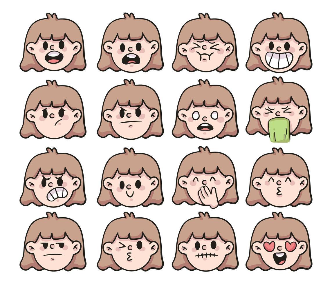 cartone animato diverso tipo di emozione imposta illustrazione simpatico cartone animato vettore