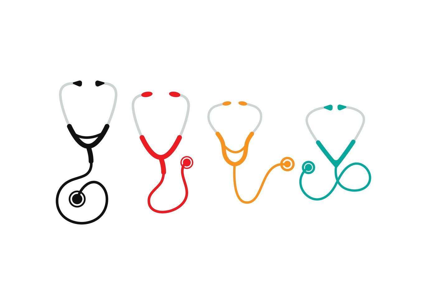 set di icone di stetoscopio vettore