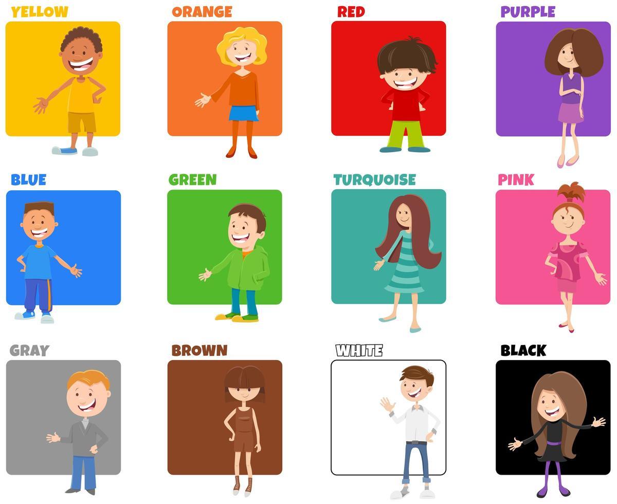 colori di base impostati con personaggi dei bambini dei cartoni animati vettore