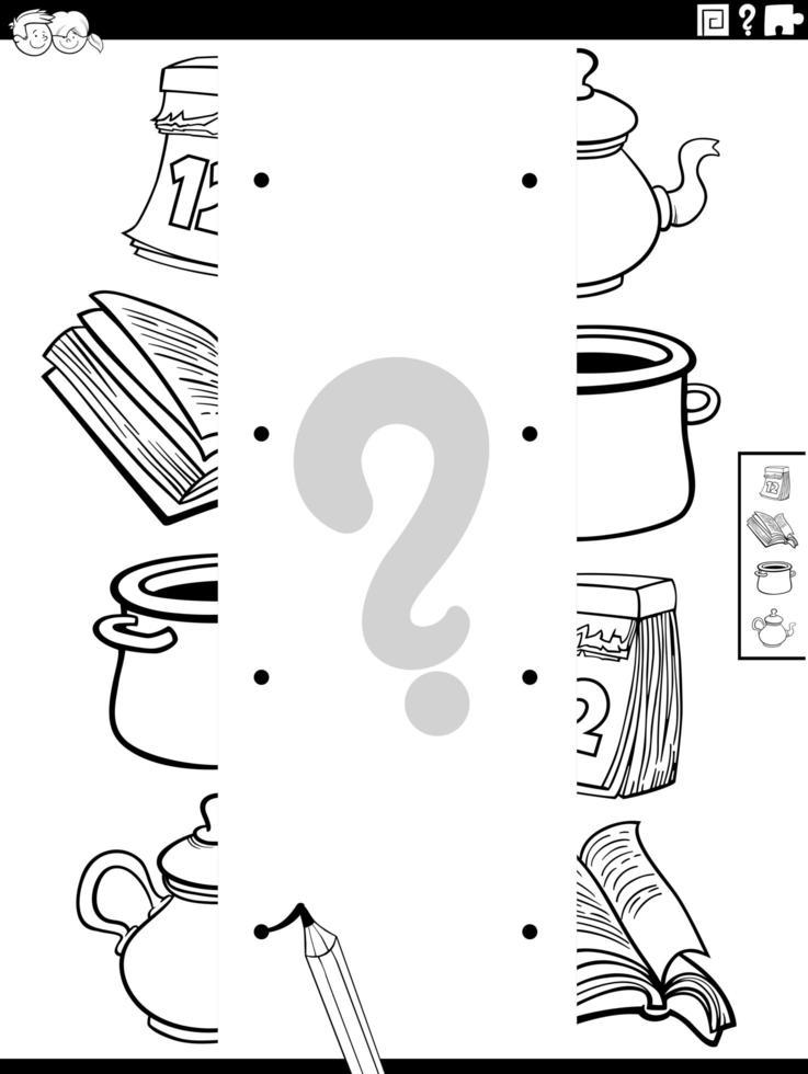 Abbina le metà delle immagini degli oggetti nella pagina del libro da colorare vettore