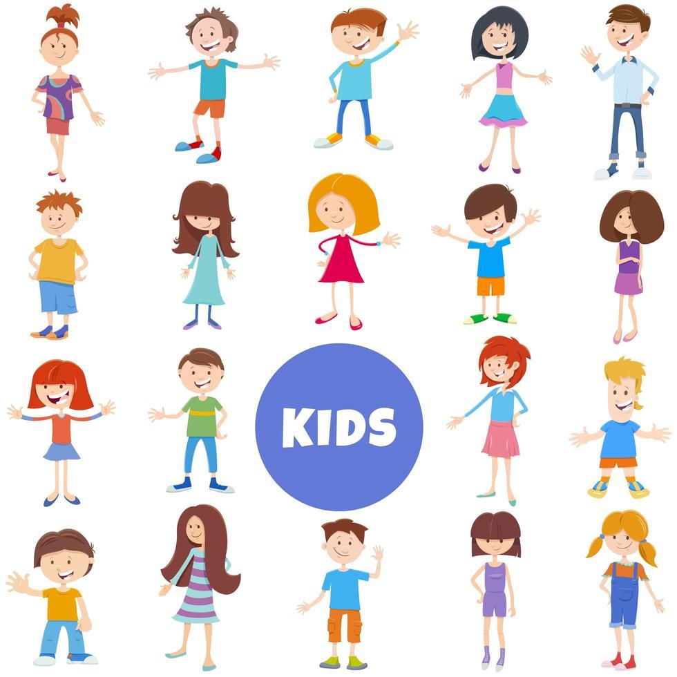 set di caratteri di bambini e ragazzi dei cartoni animati vettore