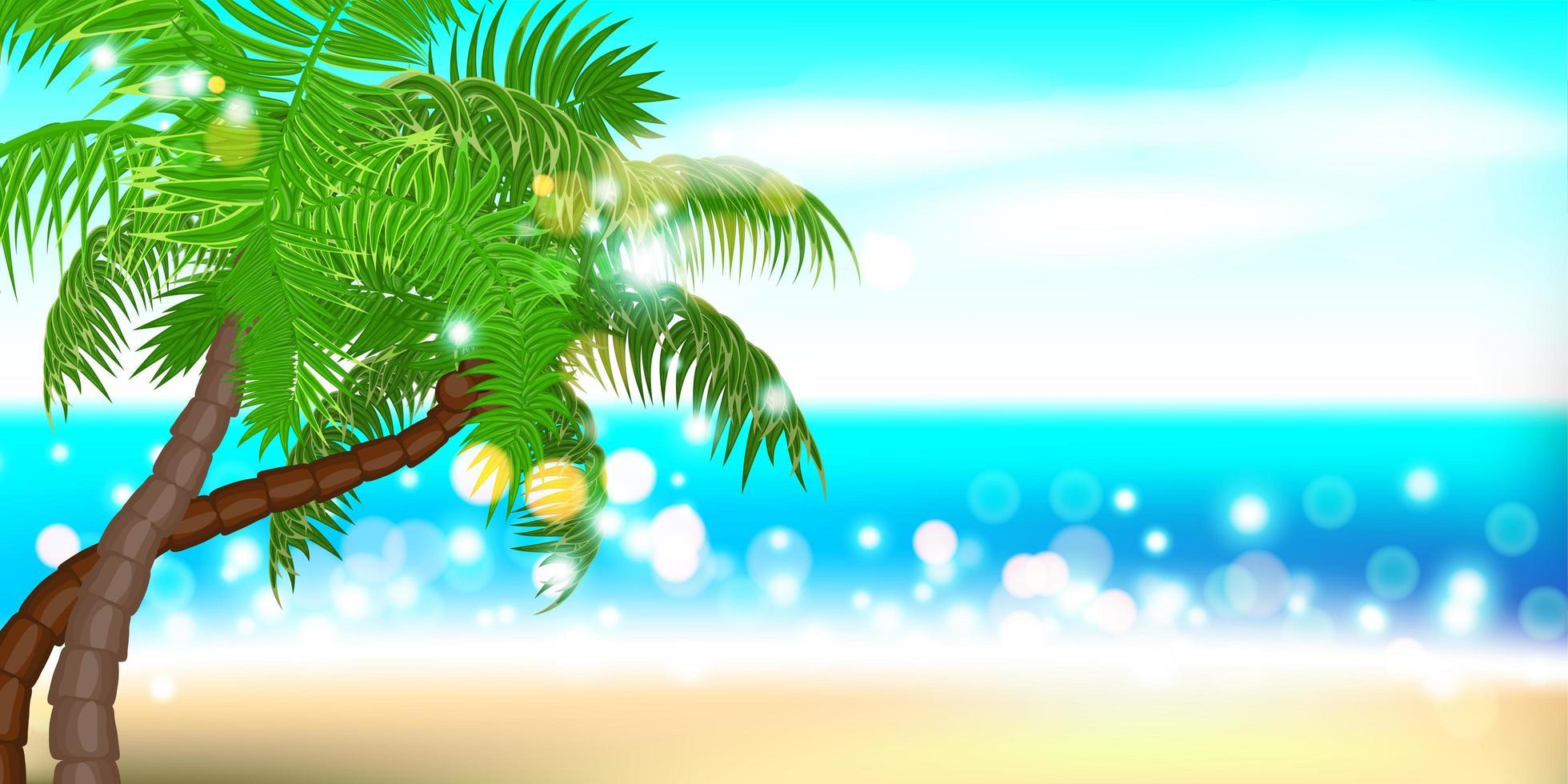 ora legale paesaggio di palme sulla spiaggia vettore
