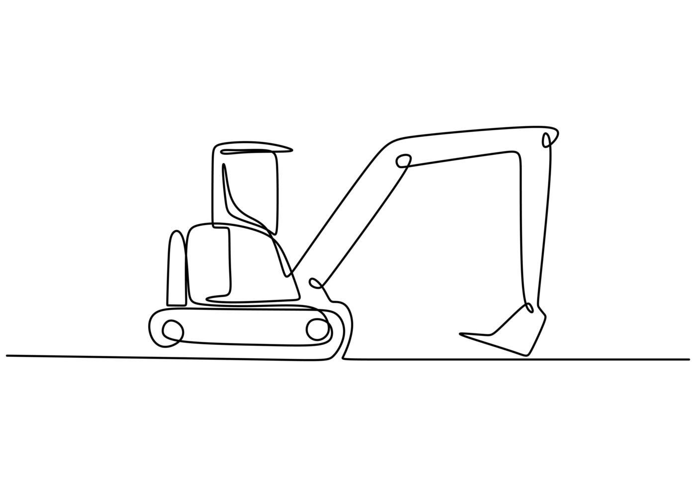 arte a linea continua o un disegno a tratteggio del veicolo da costruzione retroescavatore. vettore