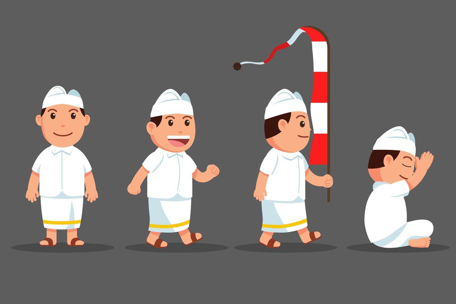 set di personaggi dei cartoni animati carino ragazzo bali vettore