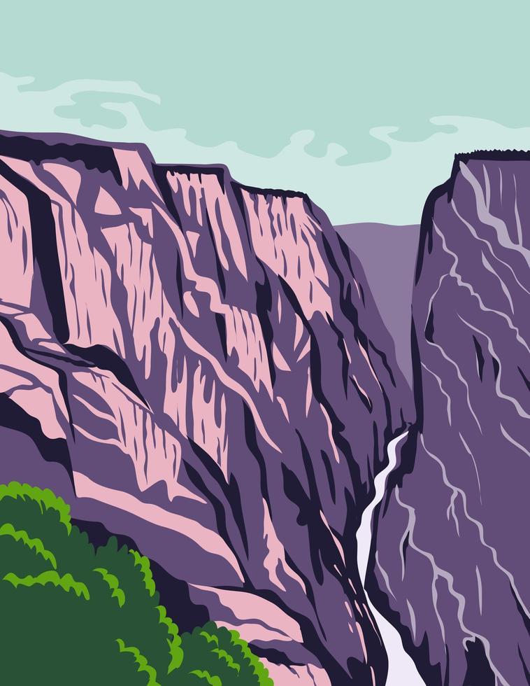 canyon in colorado stati uniti poster art a colori vettore