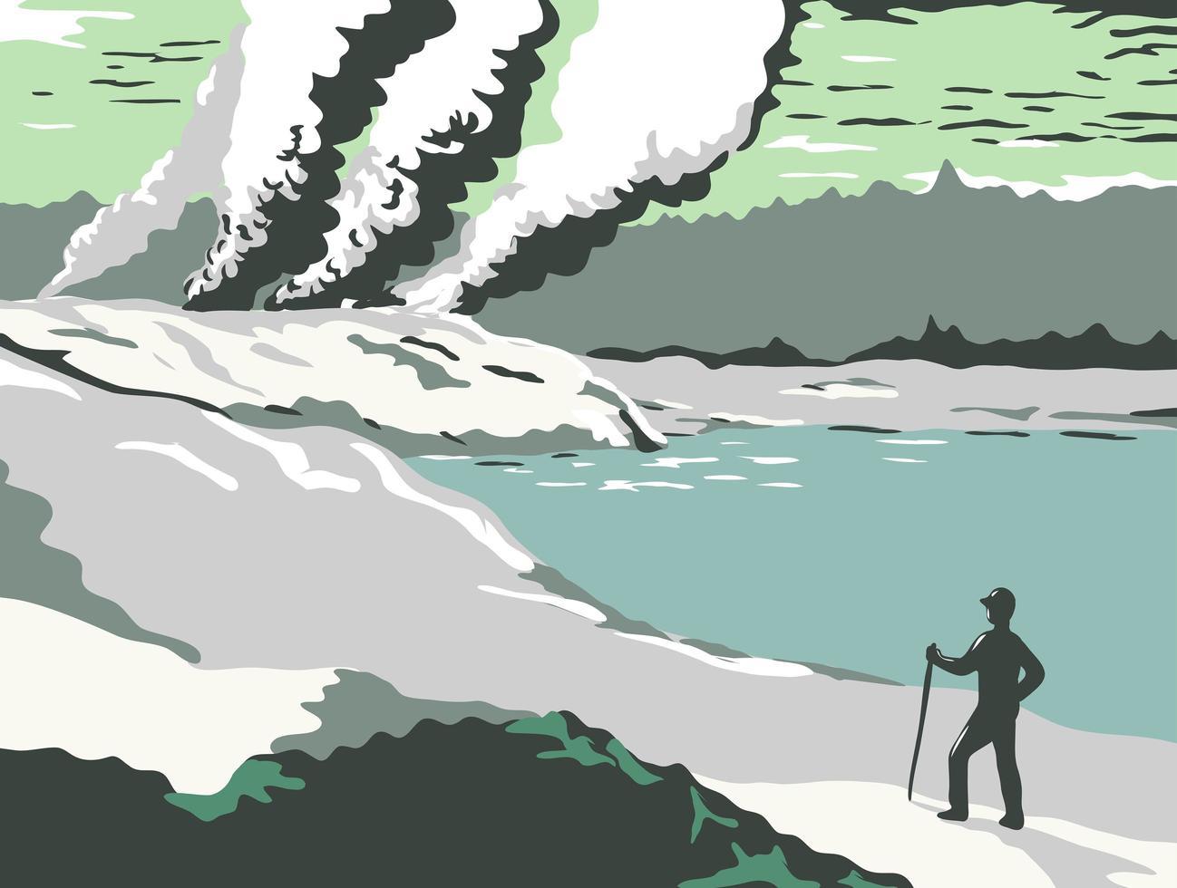 poster di pozze di fango e geyser vettore