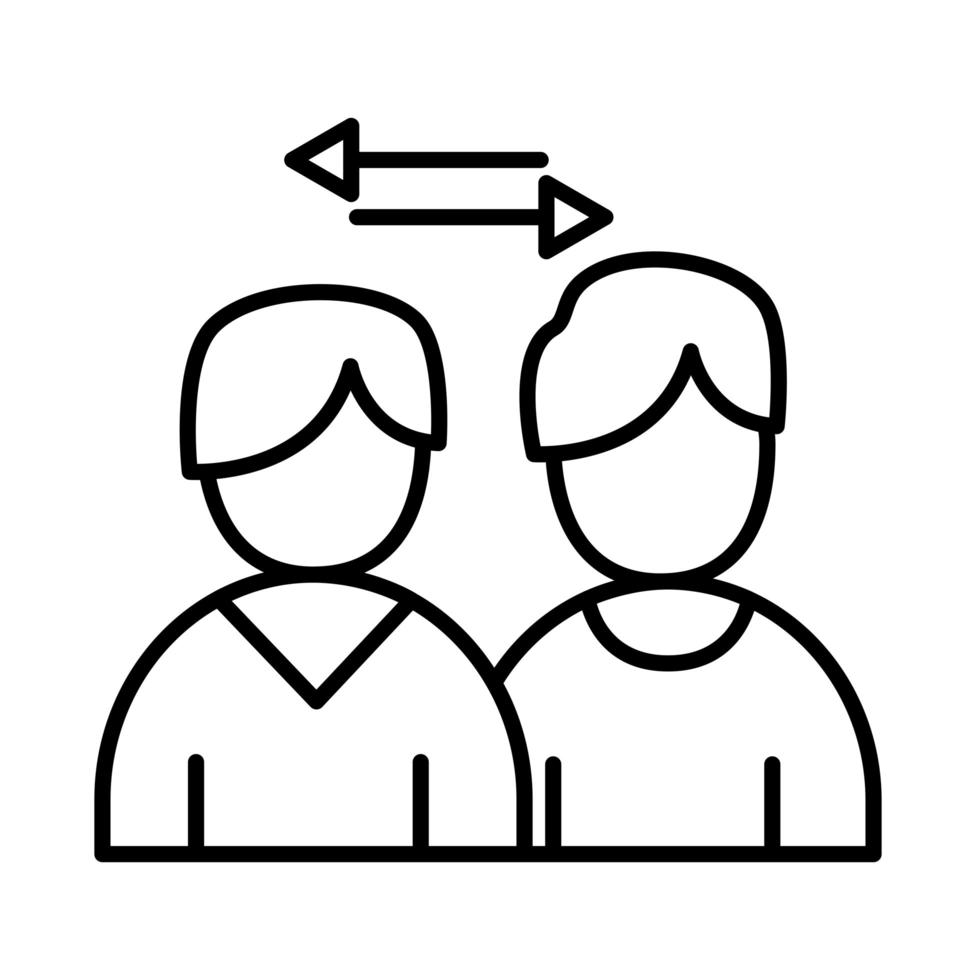 colleghi uomini con frecce linea stile icona disegno vettoriale