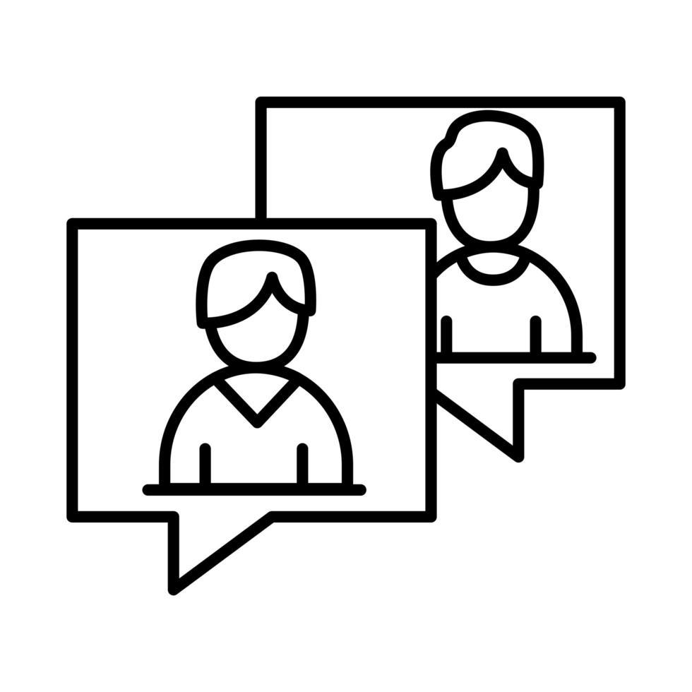 colleghi uomini in bolle linea stile icona disegno vettoriale