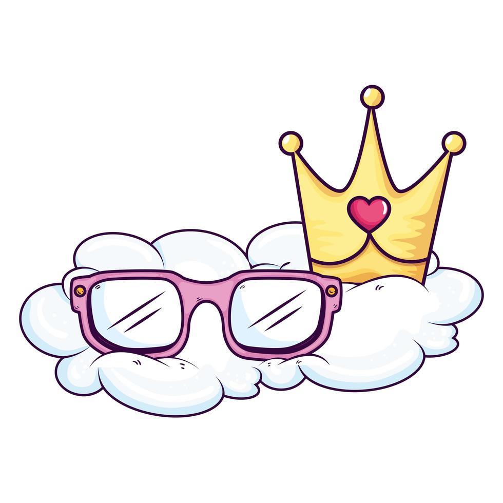 graziosi occhiali da vista e corona nel cloud vettore