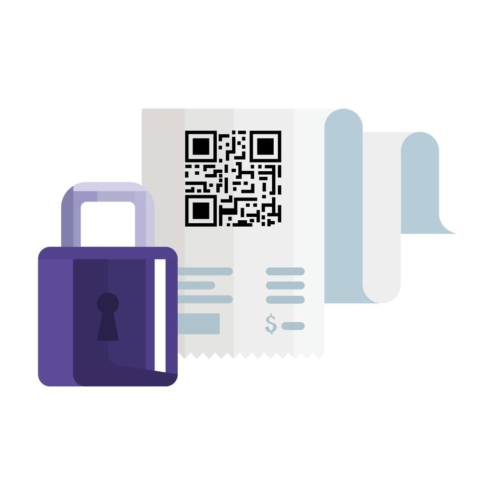 QR code carta per ricevute e lucchetto disegno vettoriale