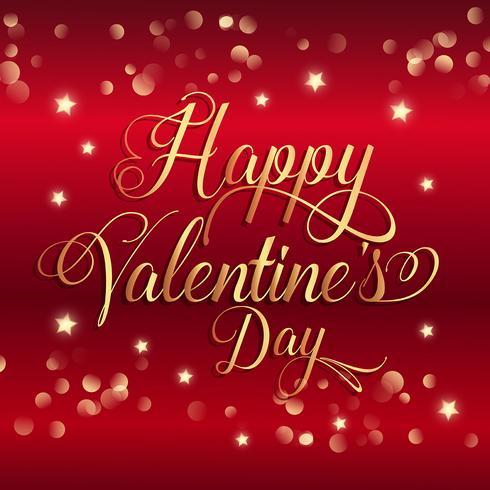 Fondo di San Valentino con stelle d'oro e testo decorativo vettore