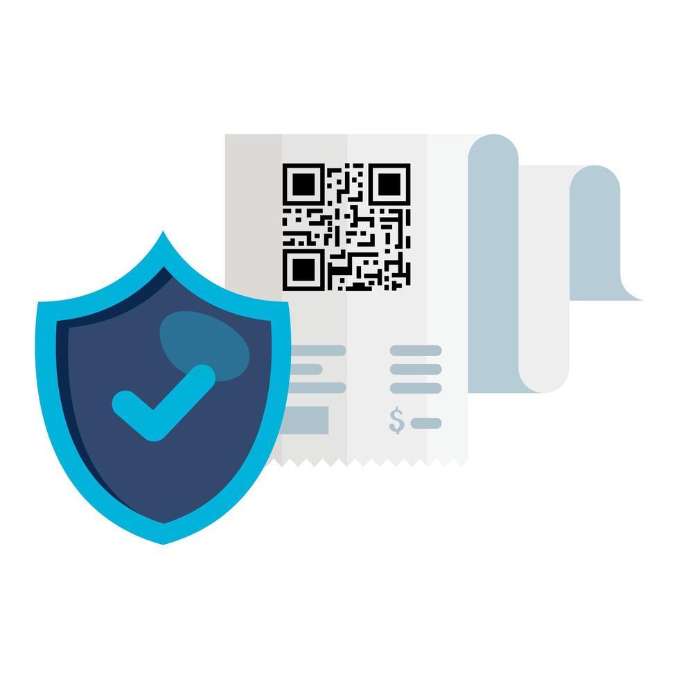 codice QR carta per ricevute e scudo disegno vettoriale