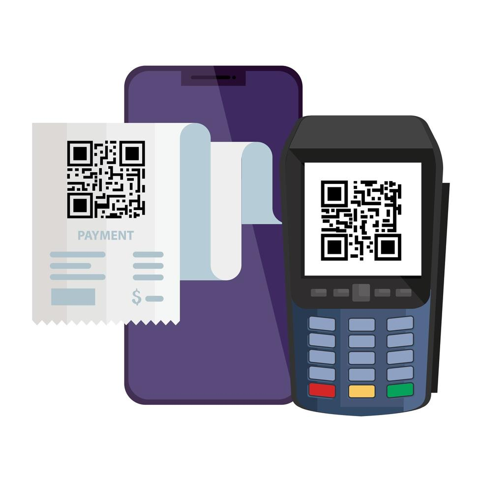 qr code carta dataphone e smartphone disegno vettoriale