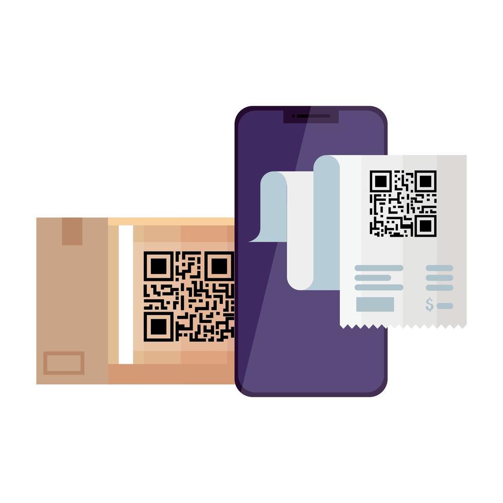 codice qr carta e disegno vettoriale smartphone