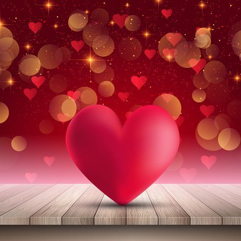 Il cuore sulla tavola di legno su bokeh accende il fondo vettore