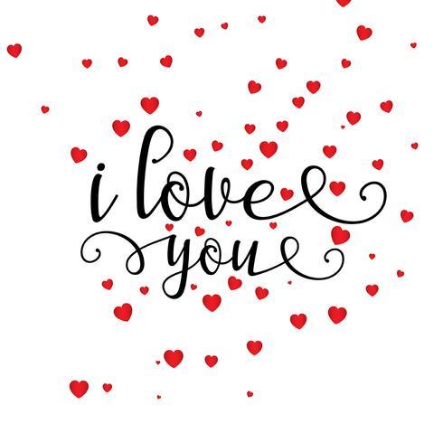 Priorità bassa del cuore di San Valentino con testo decorativo vettore