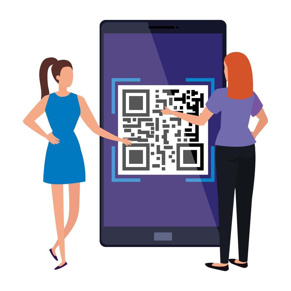 donne d'affari e dispositivo smartphone con codice di scansione qr vettore