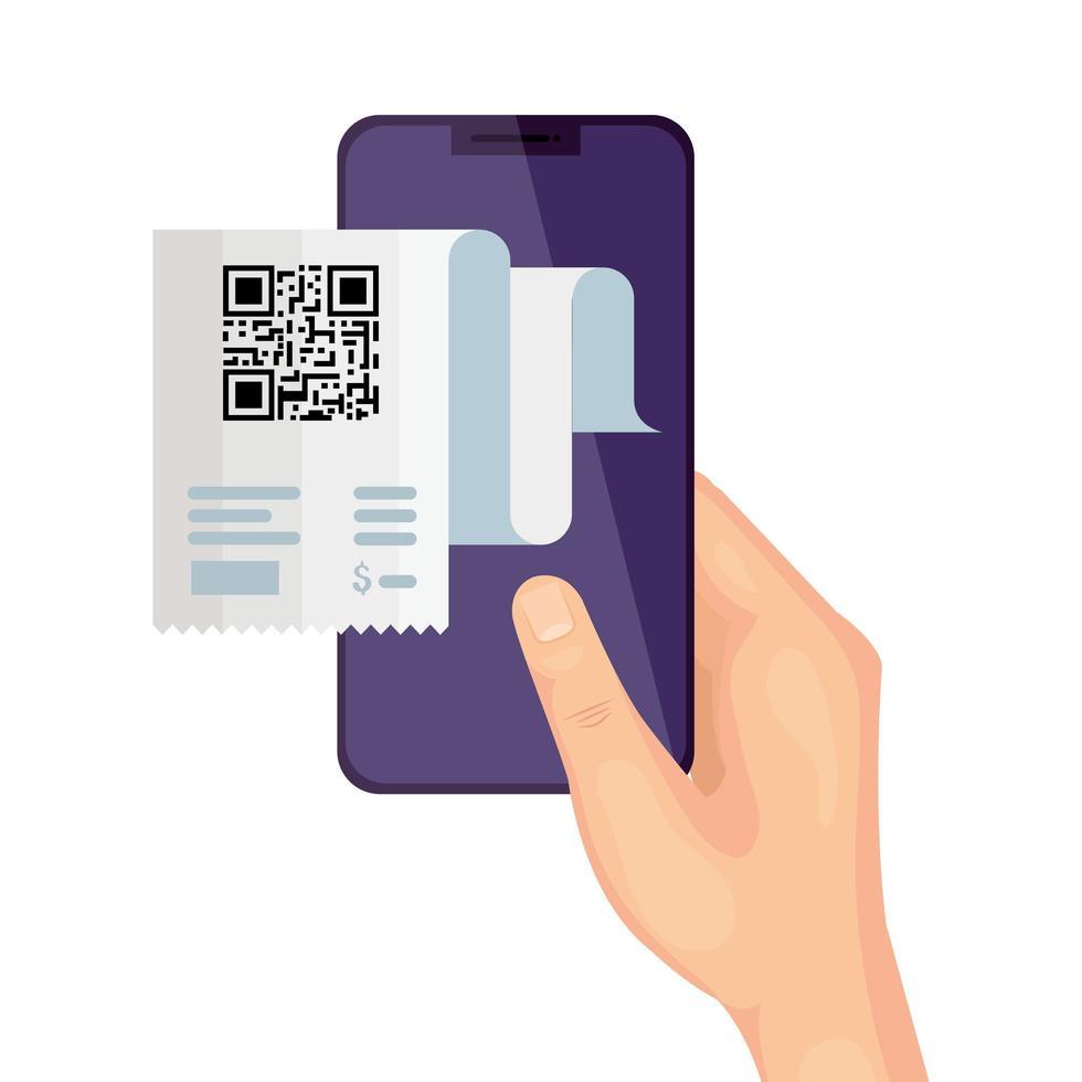 qr code paper e mano che tiene smartphone disegno vettoriale