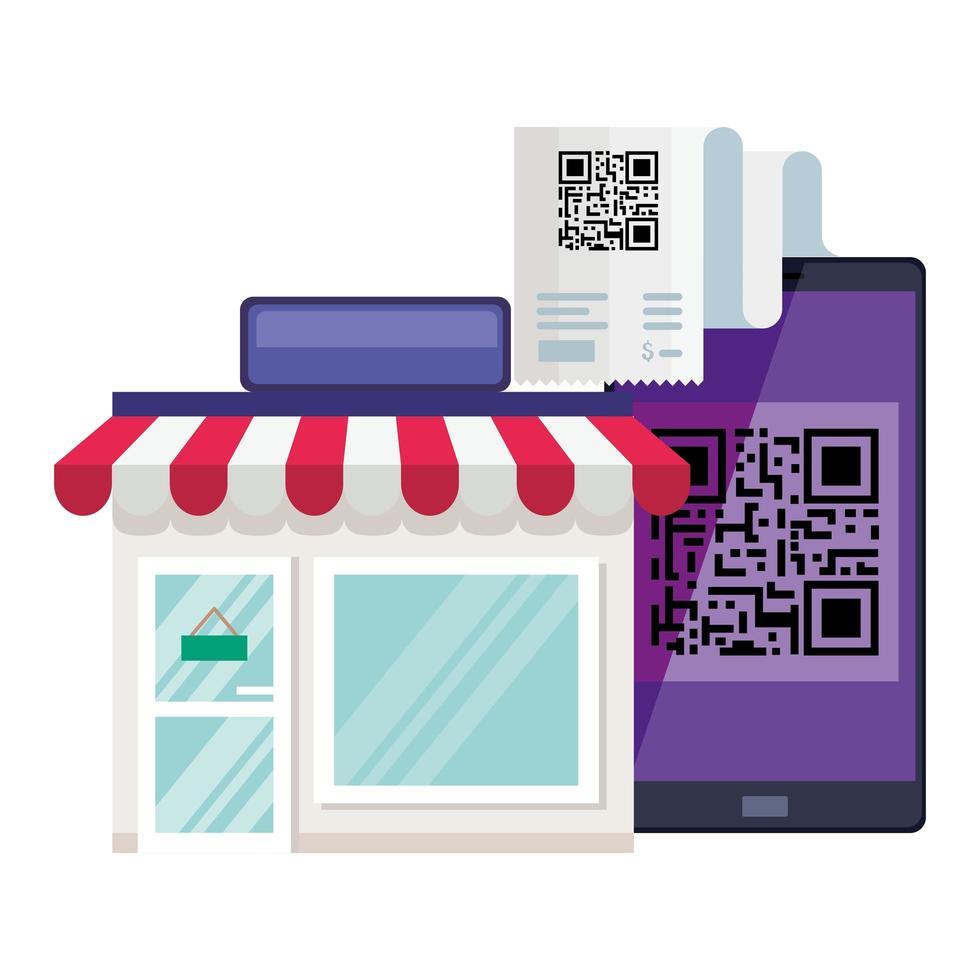 qr code paper store e smartphone design vettoriale