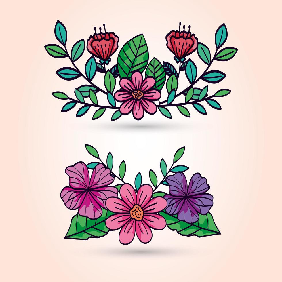 simpatici fiori con rami e foglie vettore
