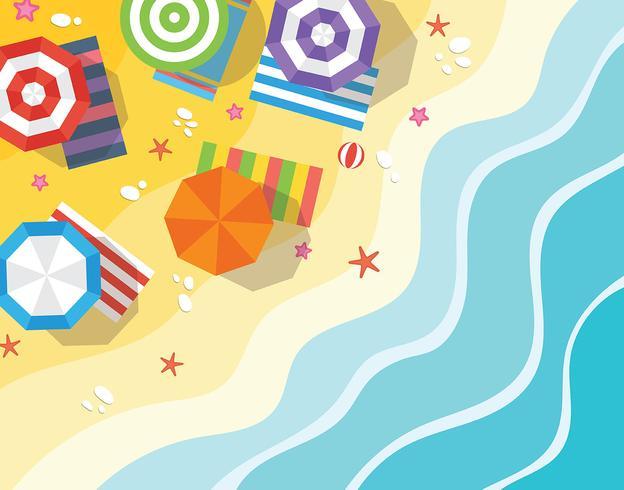 Illustrazione aerea di vista della spiaggia vettore