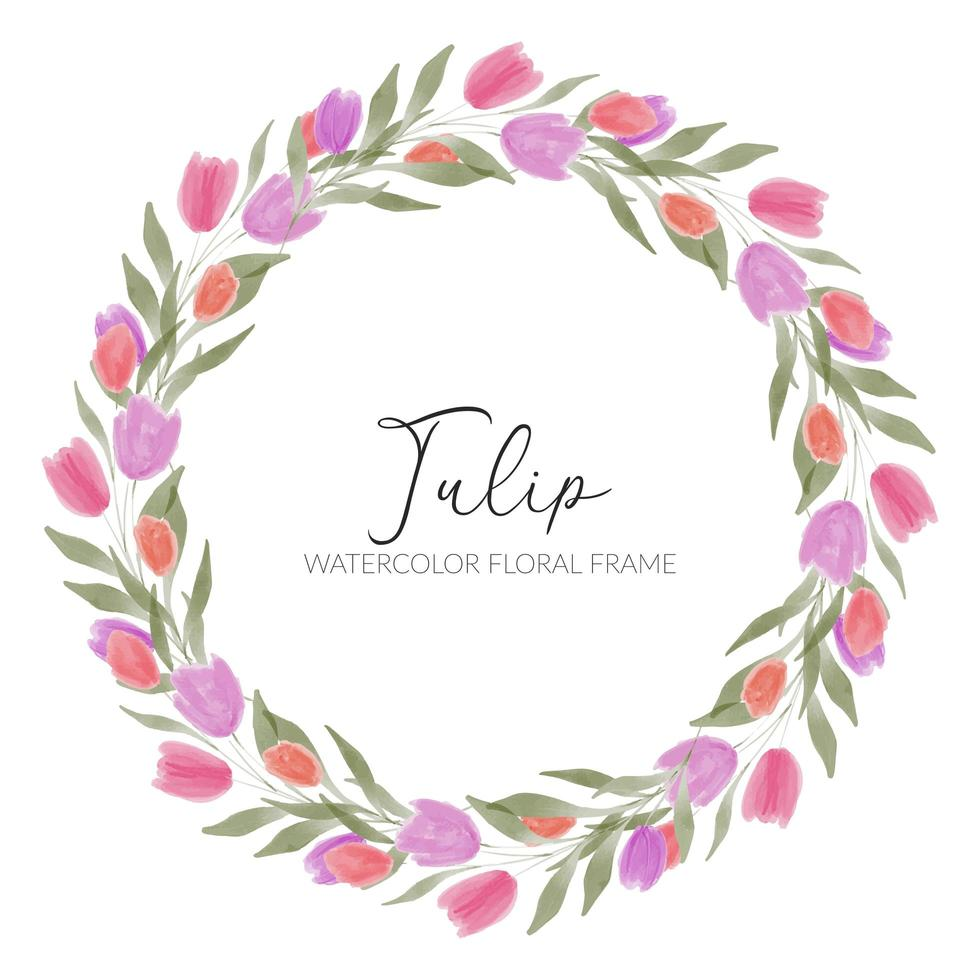 cornice di corona di fiori di tulipano dell'acquerello vettore
