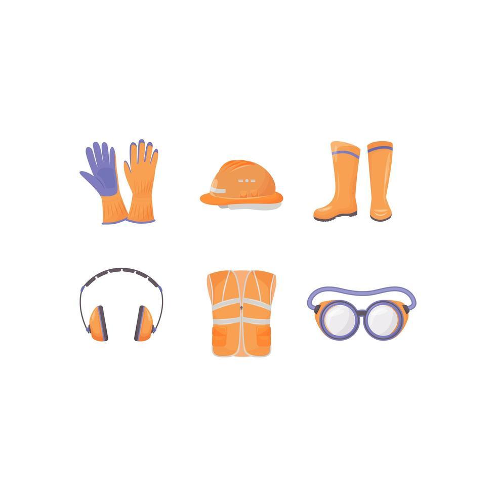 set di oggetti vettoriali di colore piatto dei dispositivi di protezione individuale del lavoratore