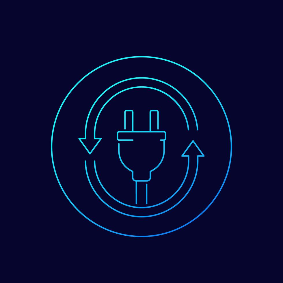 icona della presa elettrica con le frecce, lineare vettore