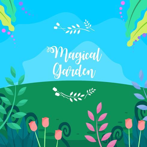 Tulipani nel vettore libero del giardino magico