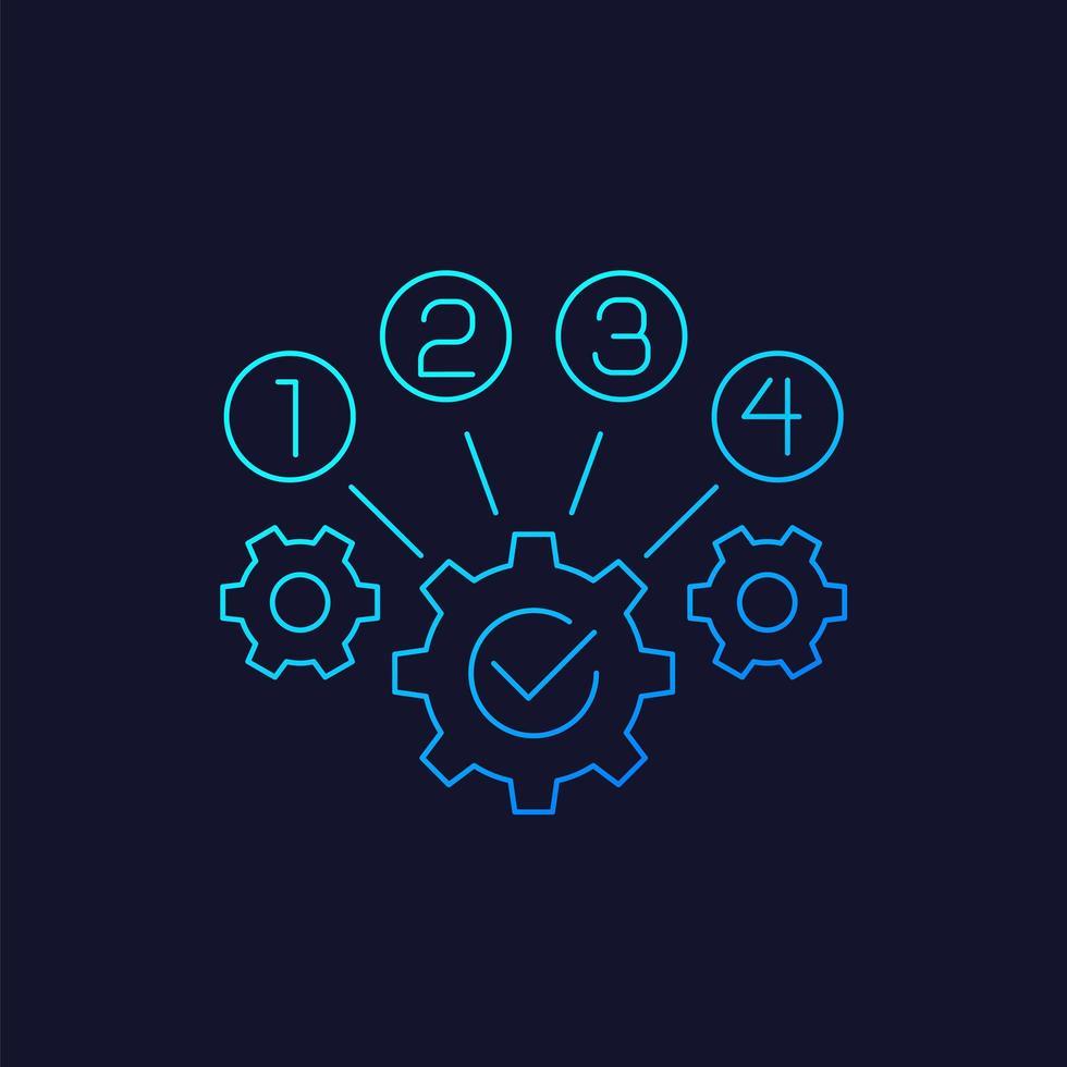 icona di ottimizzazione del processo, vettore lineare