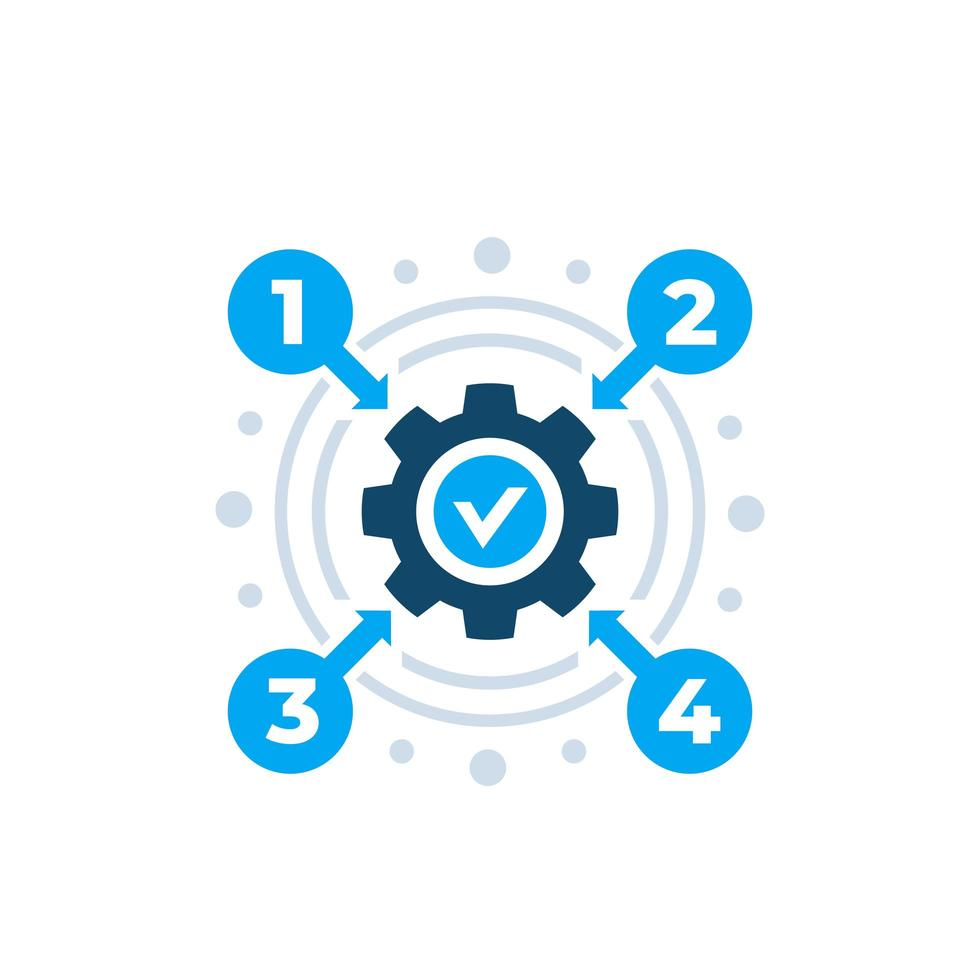 icona di vettore di ottimizzazione del processo su bianco