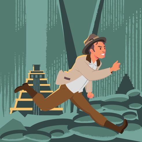 Fuga del cacciatore di tesori per la città dell'illustrazione dell'oro vettore