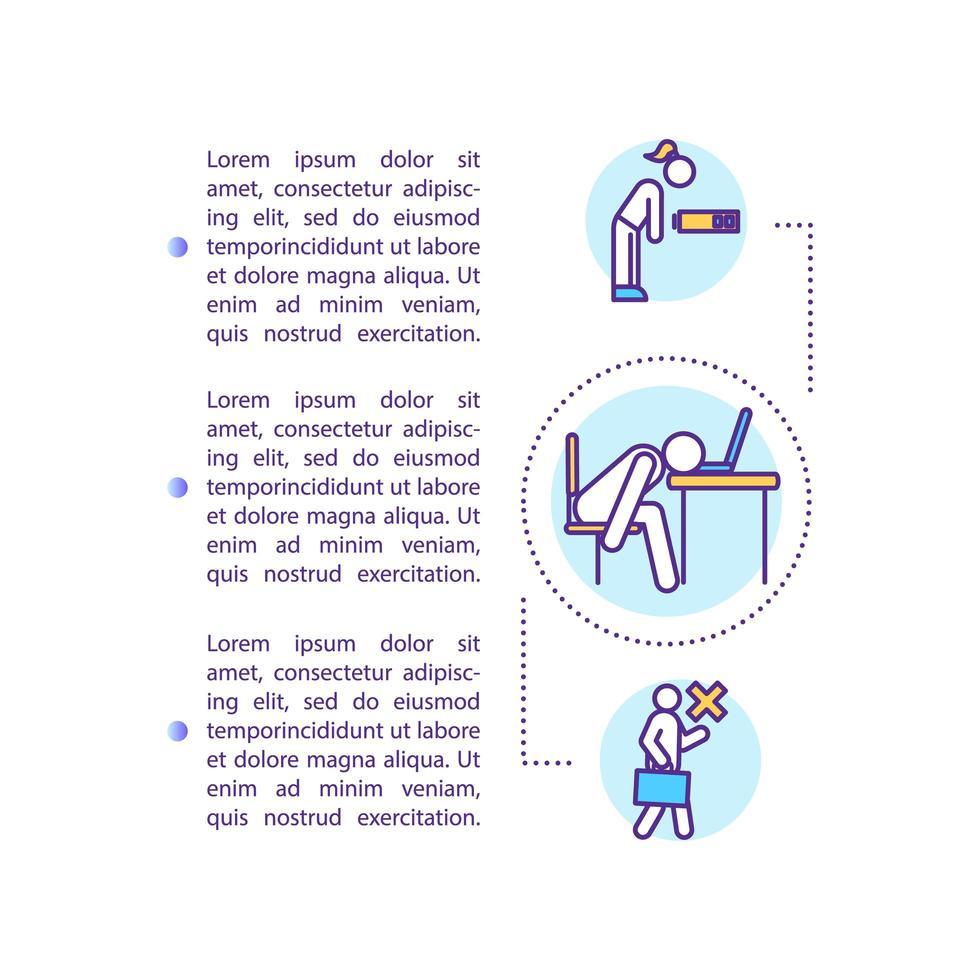 icona del concetto di lavoratore immotivato con testo. saltare il lavoro. assenteismo. depressione. vettore