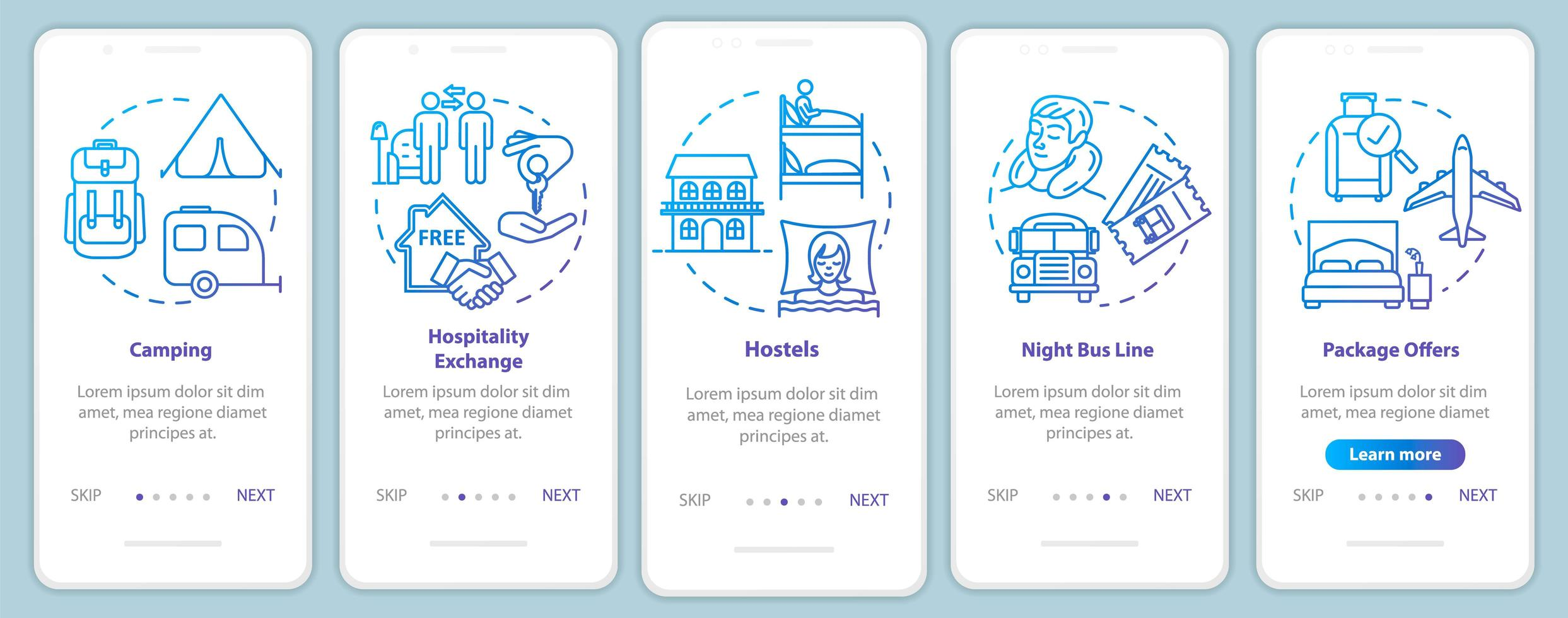 pernottamento onboarding schermata della pagina dell'app mobile con concetti. vettore