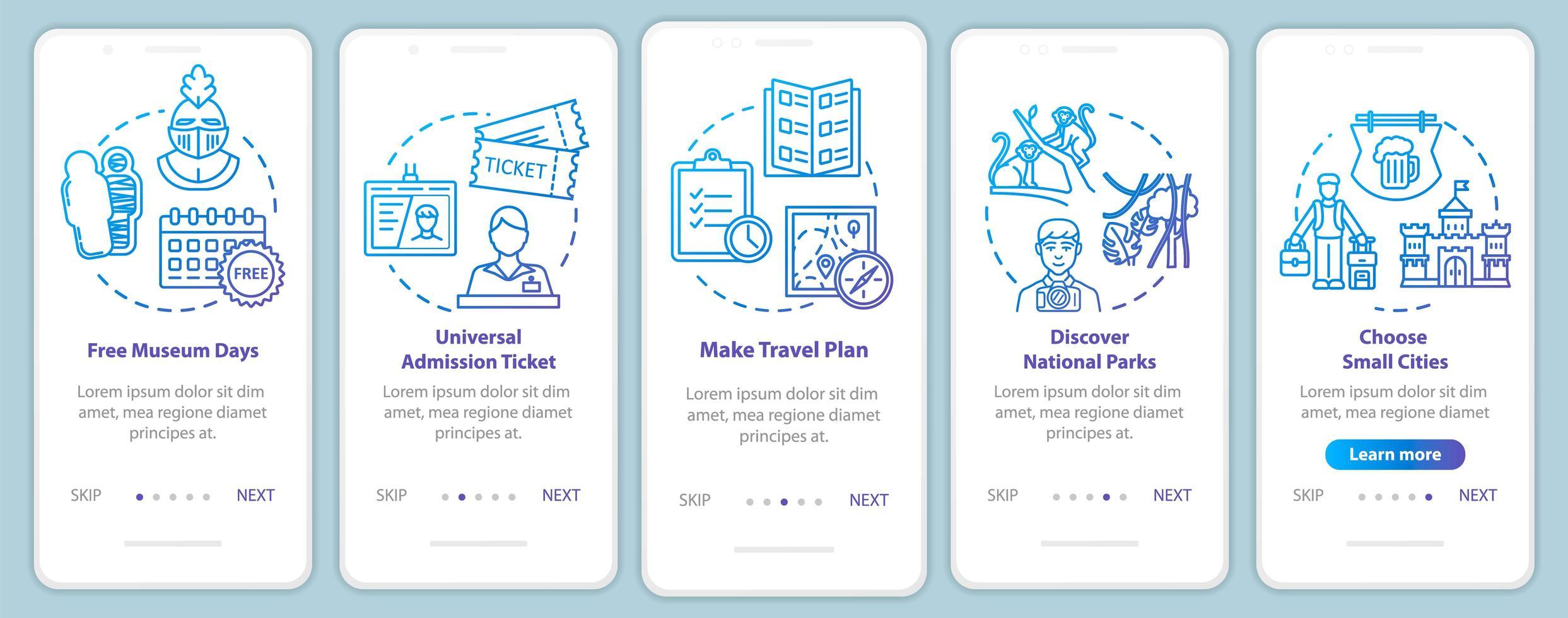 escursioni onboarding schermata della pagina dell'app mobile con concetti. gallerie gratuite. parchi che frequentano. vettore