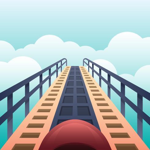Vista alta su un roller coaster guardando i loop pronti a scendere illustrazione vettore