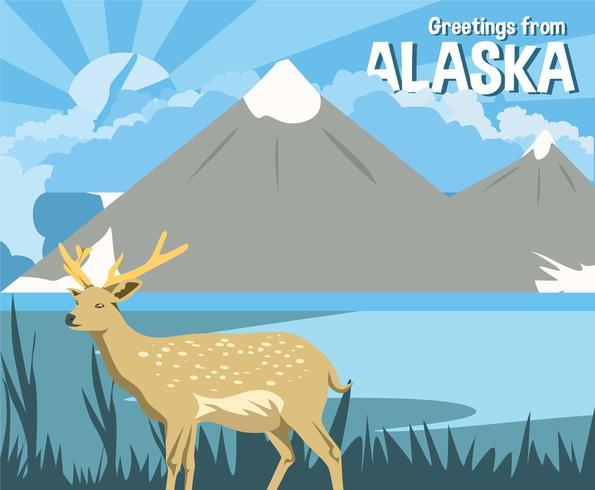 Vettore della cartolina dei cervi dell'Alaska