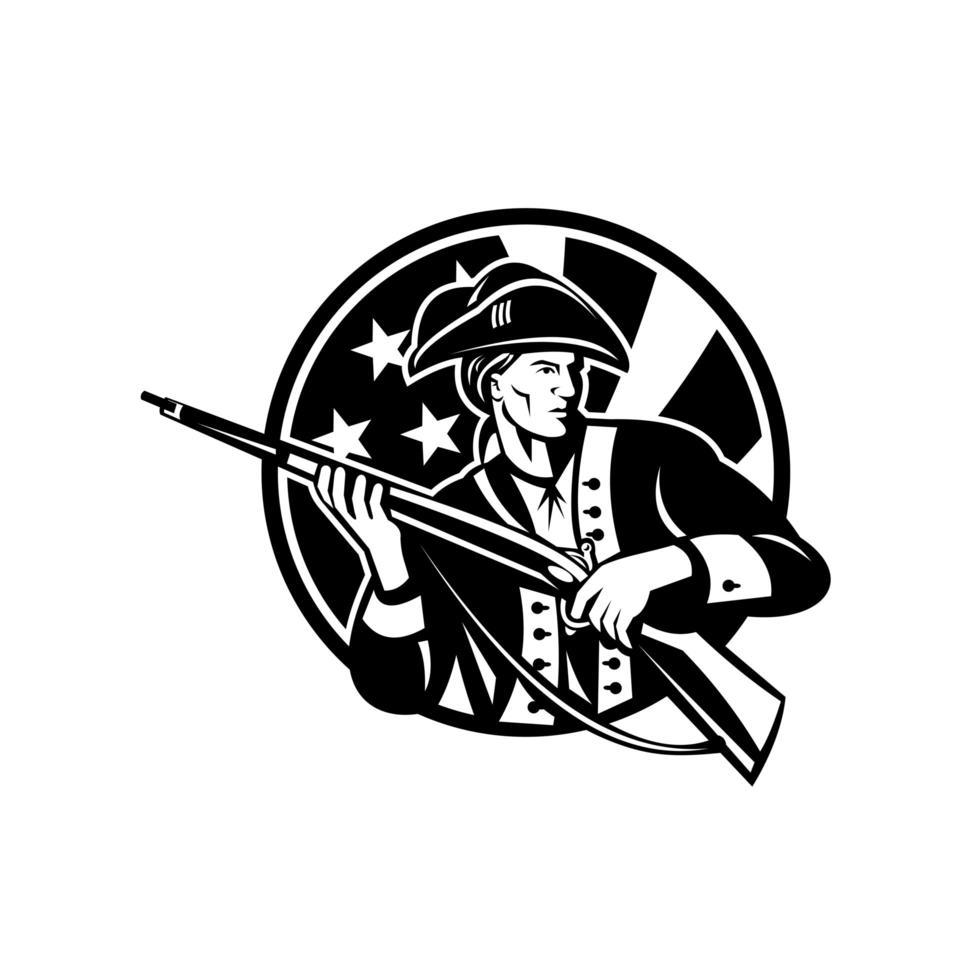 soldato rivoluzionario americano con fucile e bandiera usa vettore
