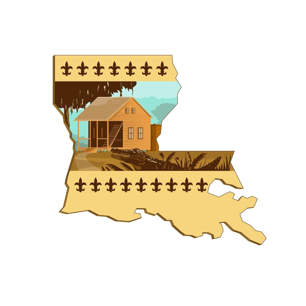 cajun house and gator in louisiana state map wpa retro vettore