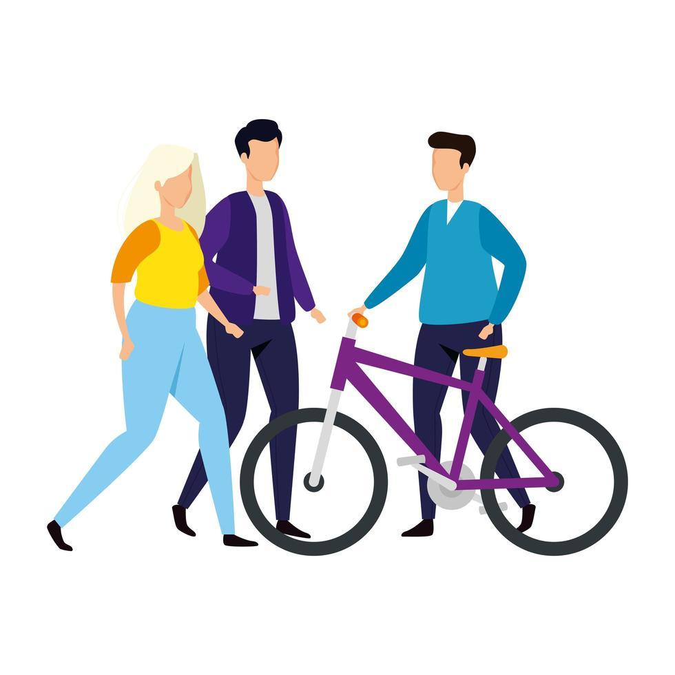 gruppo di persone con icone di bici isolato vettore