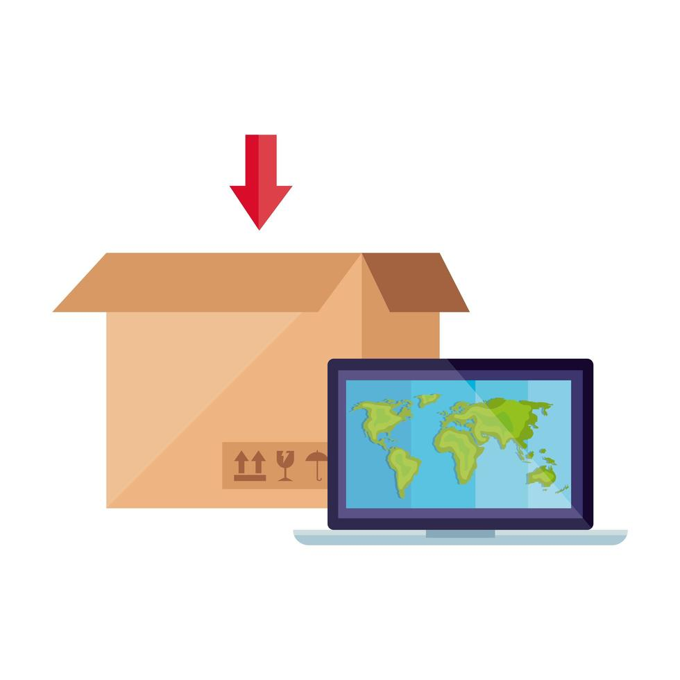 pacchetto scatola con computer portatile vettore
