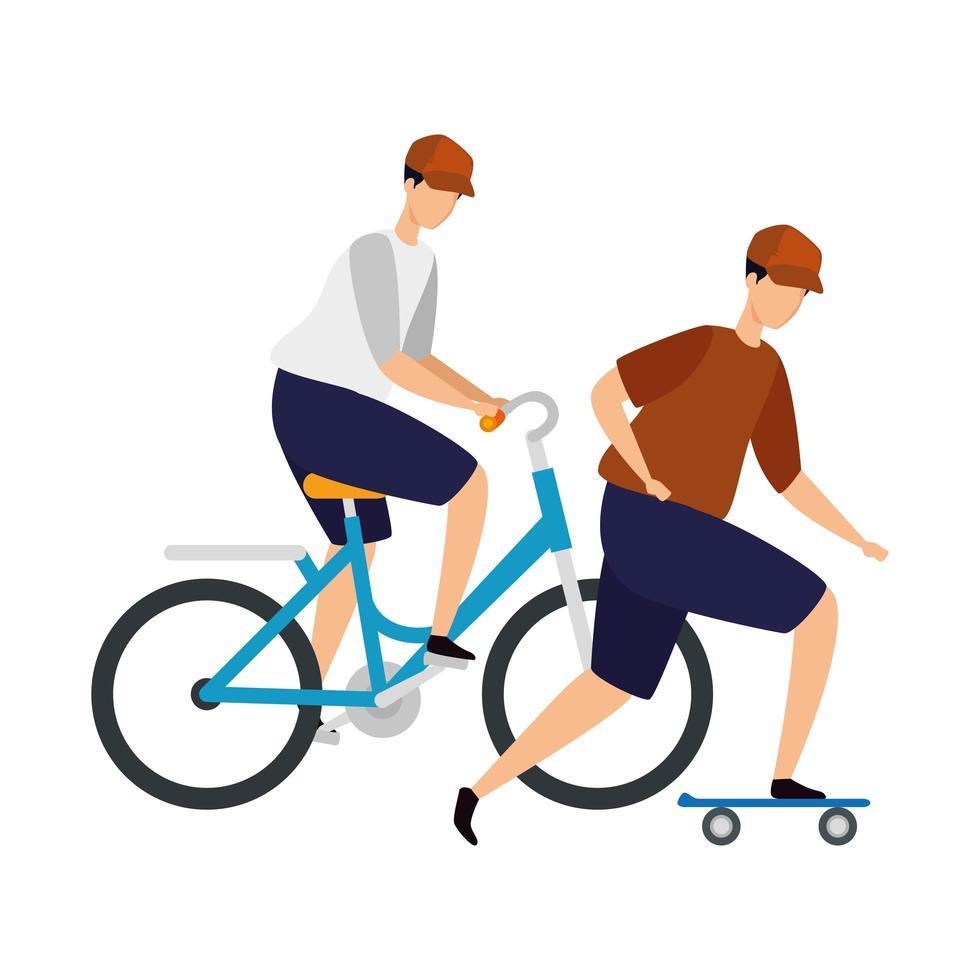 uomini con carattere avatar bici e skateboard vettore