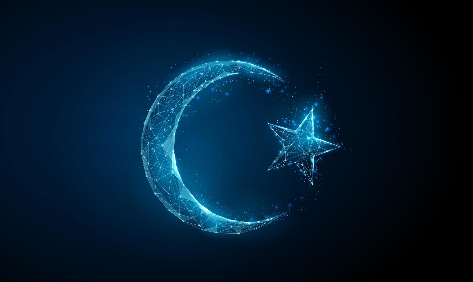 simbolo astratto islamico ramadan mezzaluna e stella. vettore