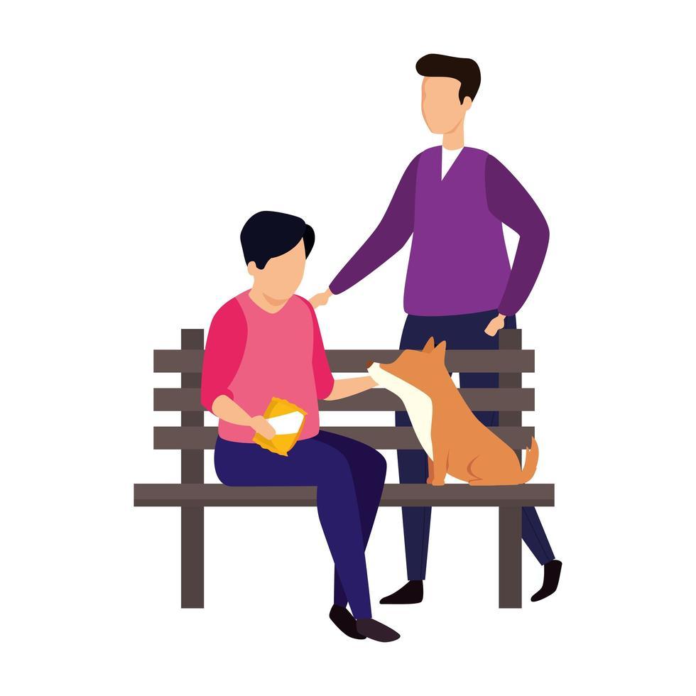 uomini con sedia in legno di parco e cane vettore