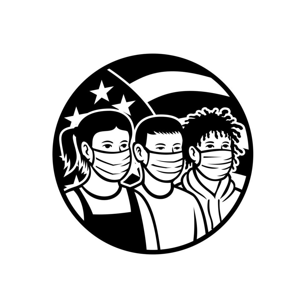 bambini americani di razza diversa che indossano una maschera per il viso vettore