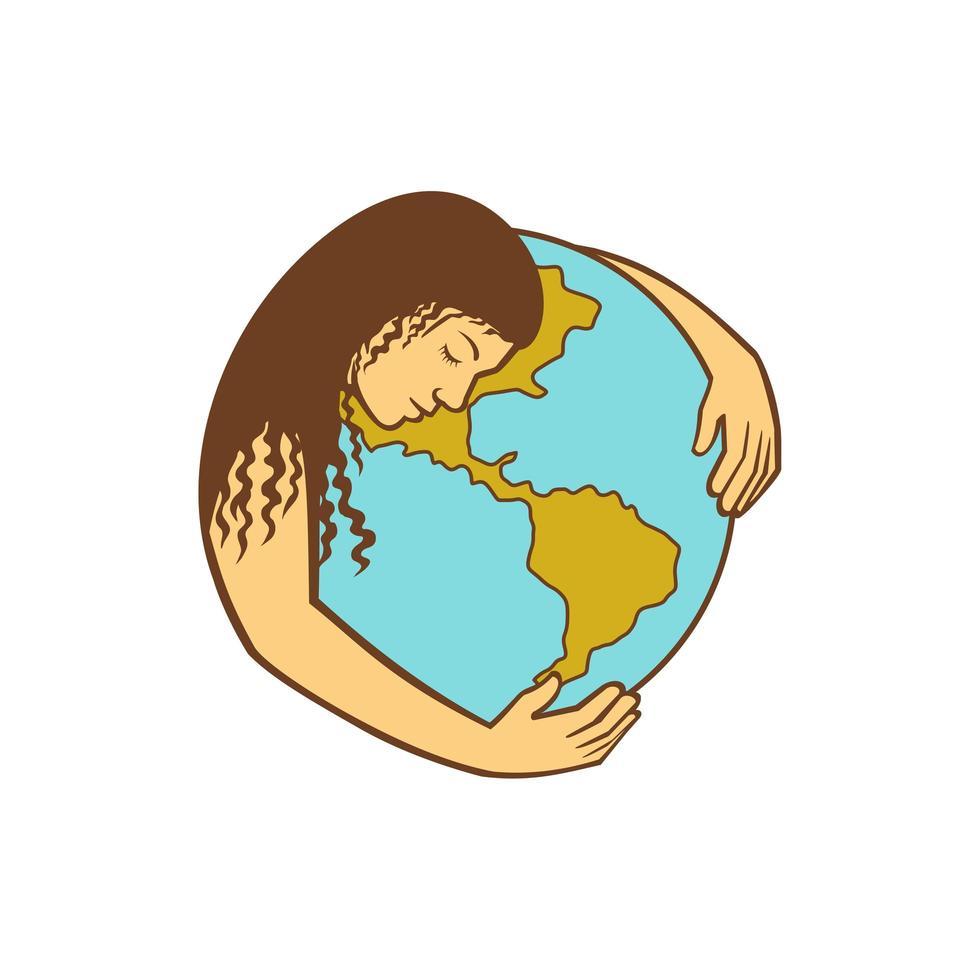 madre terra che abbraccia il globo del mondo retrò vettore