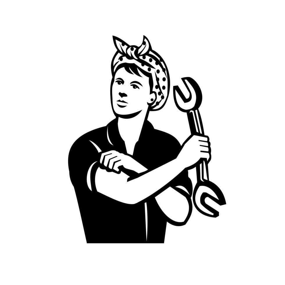 meccanico automobilistico femminile con la chiave che flette il muscolo retrò in bianco e nero vettore