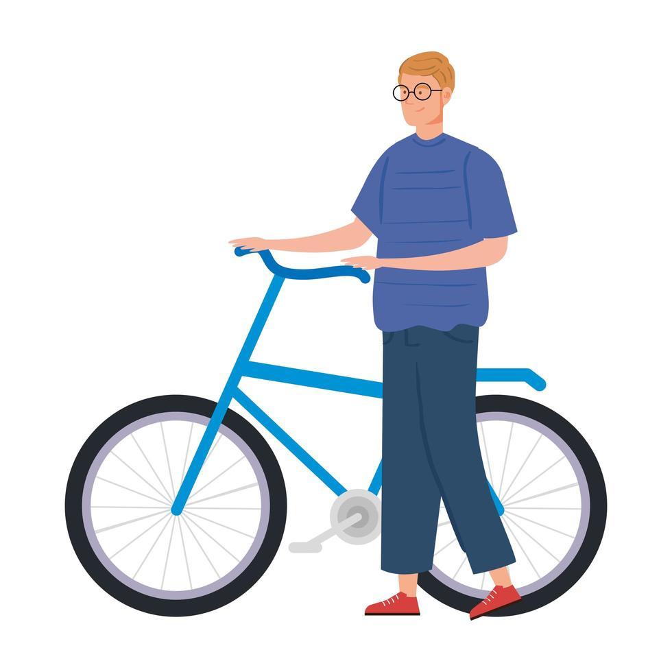 giovane con icona del personaggio avatar bici vettore