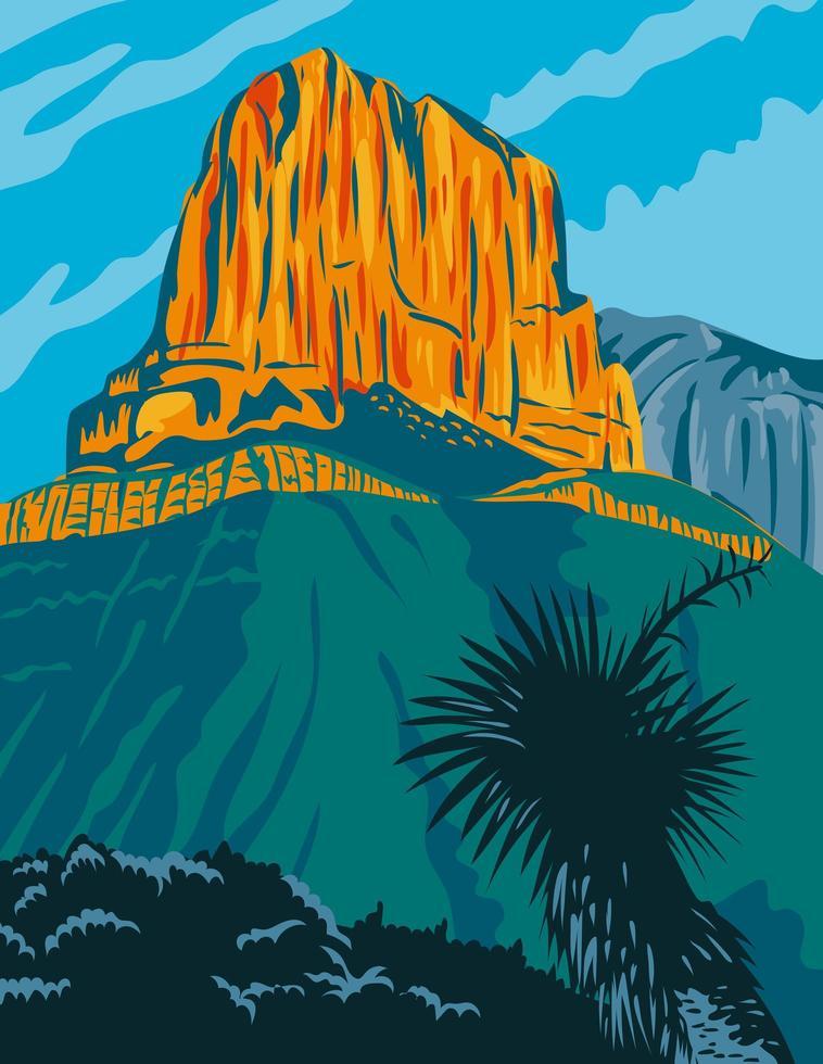 parco nazionale delle montagne guadalupe con il picco di el capitan vettore