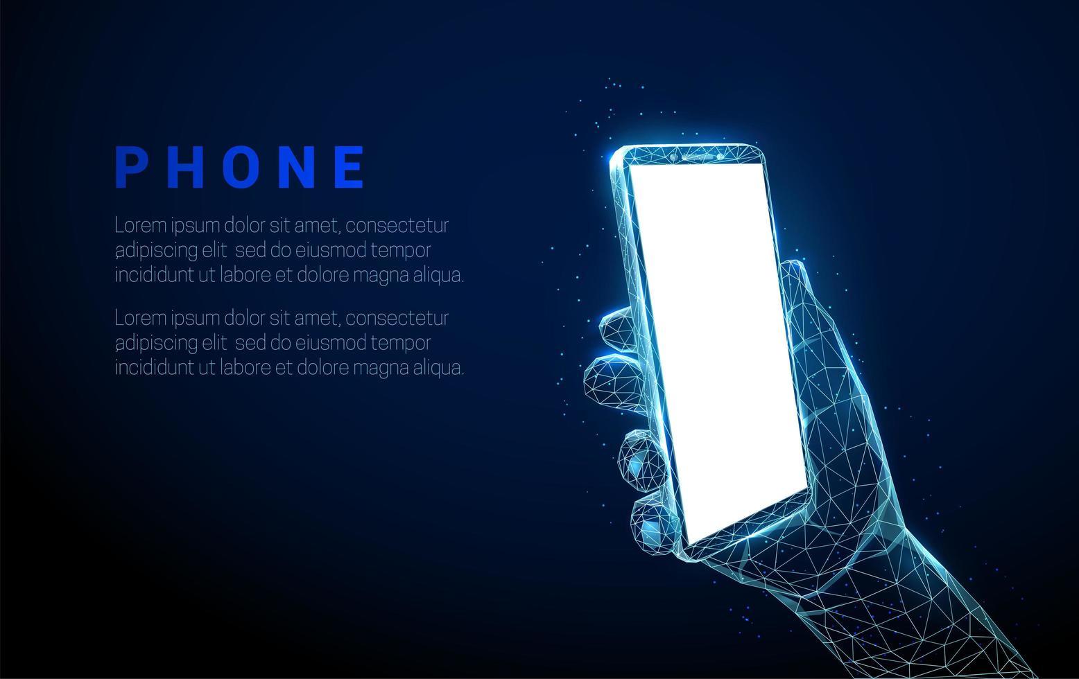 mano astratta che tiene il telefono cellulare con schermo vuoto bianco vettore